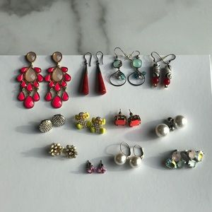 Lot of 12 Pairs Statement Earrings Dangle Studs